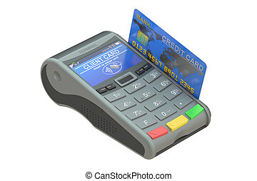 POS-terminal with credit card, 3D rendering