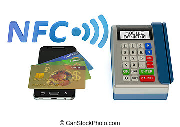 POS-terminal with credit card and smartphone, NFC concept