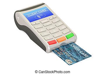 POS-terminal with credit card closeup, 3D rendering