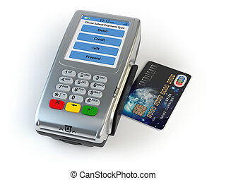 POS terminal with credit card isolated on white.