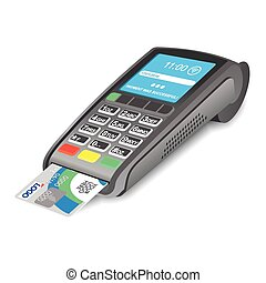 POS terminal with credit card on white background
