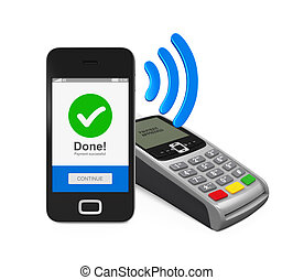 POS Terminal with Smartphone isolated on white background....