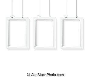 pos, vector, papel, realista, marco, set., mockup, cartel, eps10