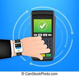 pos, vector, style., radio, terminal, pago, métodos, reloj, ...