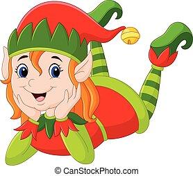 posa, ragazza, elfo, cartone animato, pavimento