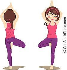 posa yoga, albero