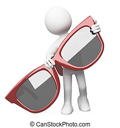 posar, óculos de sol, vermelho, homem