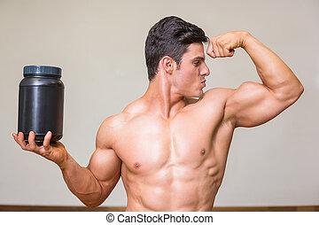 posar, alimenticio, muscular, gimnasio, suplemento, hombre