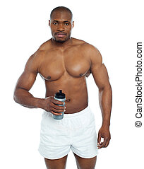 posar, atleta, bebida, salud, botella