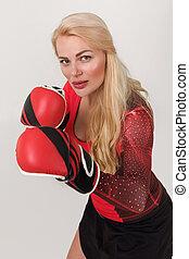 posar, atleta, mulher, luvas, boxe