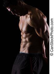 posar, fuerte, negro, muscular, hombre