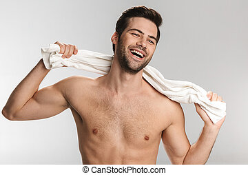 posar, homem, rir, alegre, foto, toalha, metade-despido