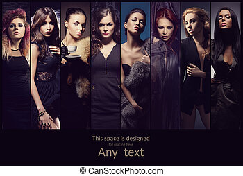 posar, joven, vestidos, mujeres