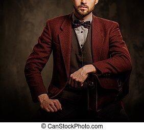 posar, oscuridad, joven, guapo, pasado de moda, maletín, ...