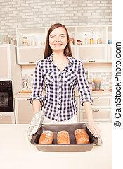 posar, pão, cozinha, assado, mulher, alegre