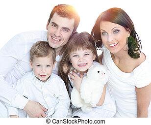 posar, seu, feliz, família jovem, crianças