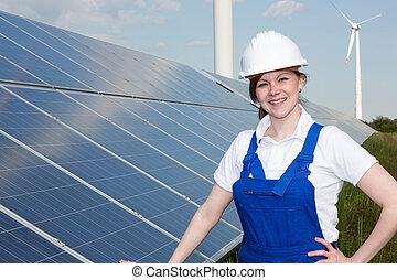 posar, solar, instalador, painéis, ou, engenheiro