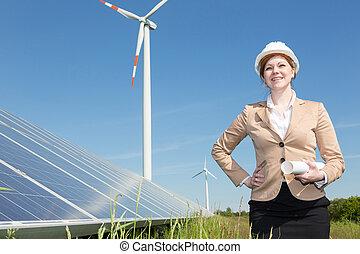posar, solar, turbina, painéis, vento, engenheiro