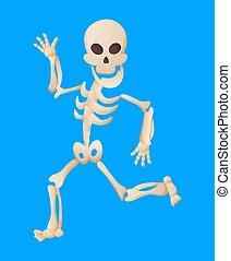 posar, vector, ilustración, divertido, humano, hombre, skeletal., plano de fondo, esqueleto, huesos, muerto, mientras, color, running., character., caricatura, huesudo