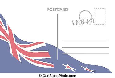 Poscart template with waving flag of the New Zealand.
