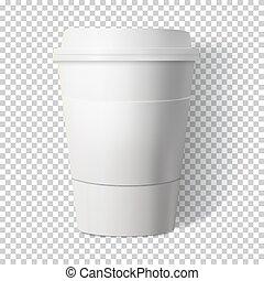 posdata, café, fondo., taza, aislado, p, vector, estilo, transparente