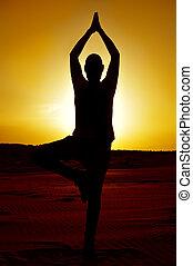 pose árvore, ioga, homem jovem