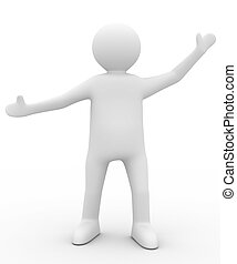 pose., εικόνα , απομονωμένος , χαιρετισμός , πρόσωπο , 3d