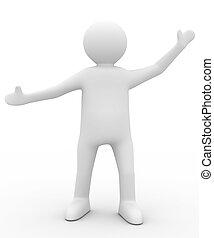 pose., avbild, isolerat, hälsning, person, 3
