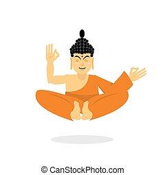 pose., buddhists., 考慮, yoga., 長袍, 最高, 狀態, 印第安語, 僧侶, 佛, 橙, 蓮花, 亞洲人, 背景。, isolated., 神圣, 老師, 涅磐, enlightenment., 白色, 上帝