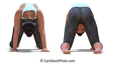 pose, chat, dos femme, yoga, poses, devant