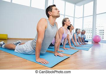 pose, cobra, ioga, fila, grupo, classe
