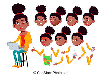 pose., création, girl, afro, set., caractère, isolé, gestures., animation, divers, adolescent, plat, american., illustration, teenager., émotions, dessin animé, figure, amis, émotif, life., black.