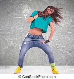 pose, dançarino, sensual, mulher