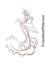pose, danser, flamenco, expressief, tekening, gebaar