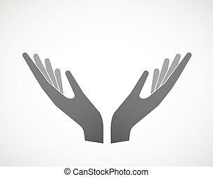 pose, deux, offrande, mains