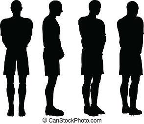 pose, di, giocatori calcio, silhouette, in, difesa,...