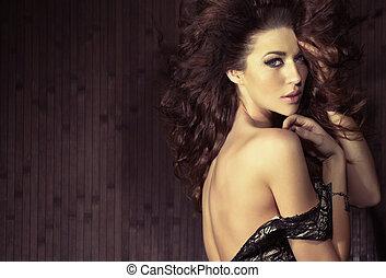 pose, excitado, sensual, mulher