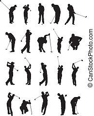 pose, golf, silhouette, 20