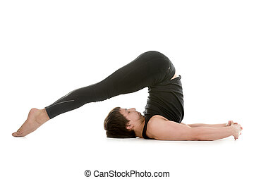 acroyoga camel with plow pose sporty couple on white