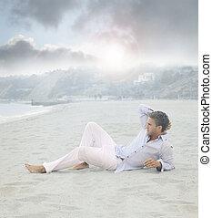 pose homme, sur, plage