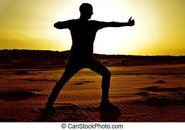 pose, ioga, jovem, arqueiro, homem
