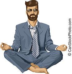 pose lotus, meditar, vetorial, hipster, homem negócios