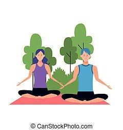 pose, man, spotprent, lotus, vrouw, yoga