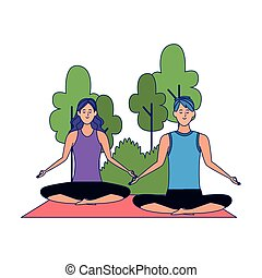pose, man, spotprent, vrouw, yoga, lotus