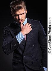 pose, mode, provocateur, homme affaires