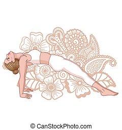 pose., purvottanasana., silhouette., vrouwen, plank, omhoog