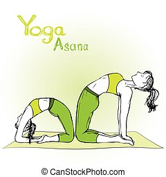 pose, ragazza, donna, yoga