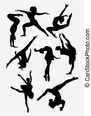 pose, silueta, dançar, mostrar