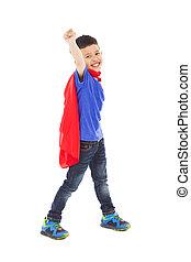 pose, superhero, imiter, voler, heureux, gosse