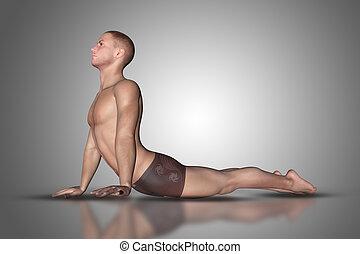 pose, yoga, 3d, figure, mâle